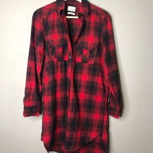 Aritzia Wilfred free plaid shirt dress Veronika xs